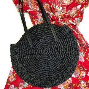 Bali Straw Round Shoulder Bag in Black Large